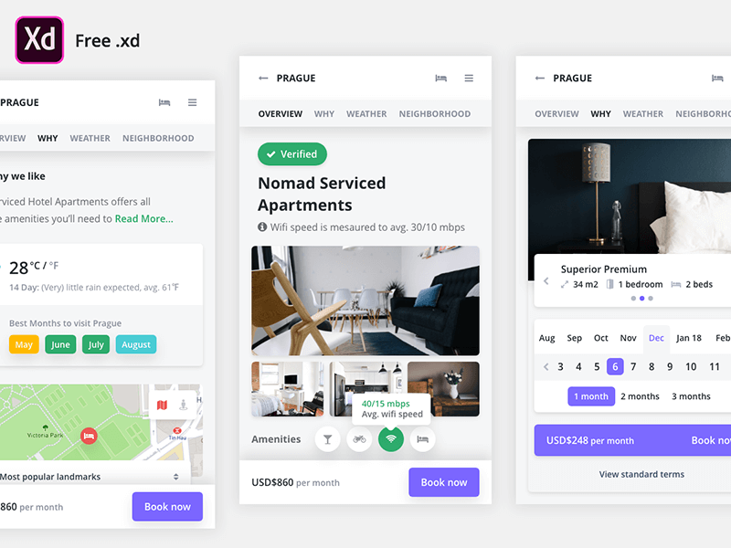 Freebie Mobile Booking  Xd UI Kit by Kasper Christensen on