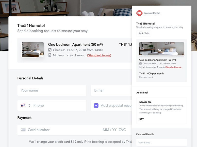 Booking Request Redesign - Nomad Rental hotel responsive mobile form checkout listing booking