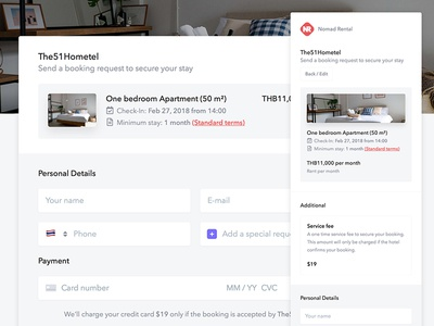 Booking Request Redesign - Nomad Rental