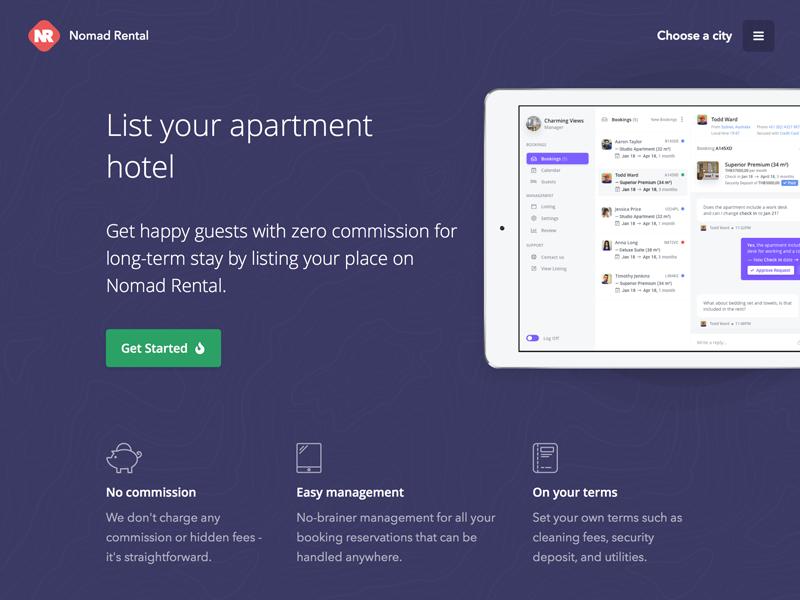 Nomad rental get listed