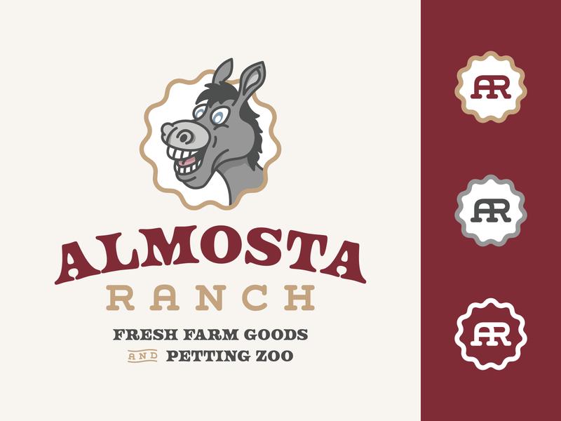 Almosta Ranch | Work in Progress flat illustration flat branding design brand identity playful mascot animal farmer goofy ranch farm simple donkey illustration badge clean flat design branding logo logo design