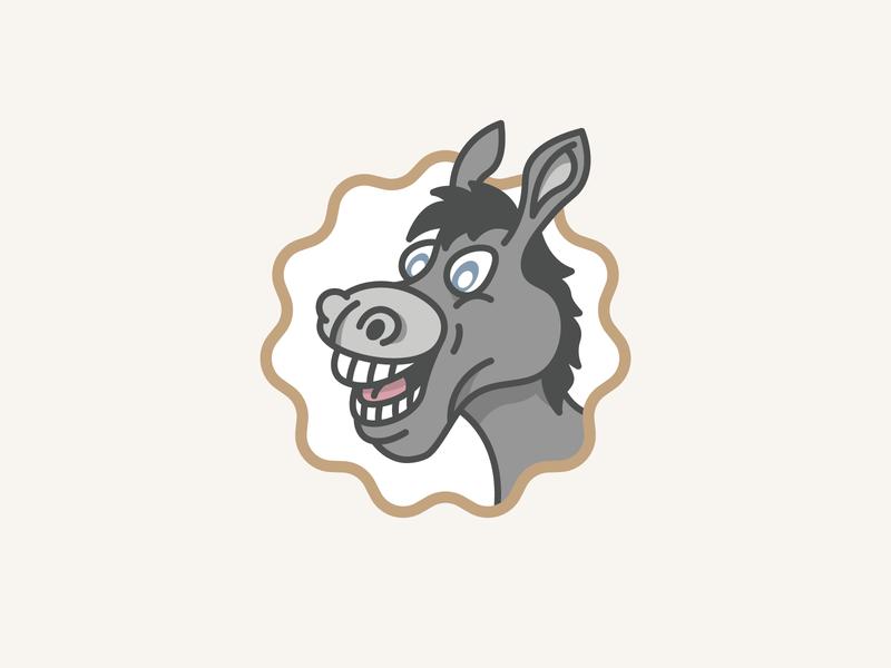 Almosta Ranch | Donkey mascot fun logo playful animal logo emblem flat illustration illustration ranch farm donkey logomark flat brand identity simple minimal clean flat design branding logo logo design