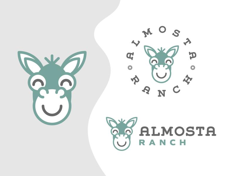Almosta Ranch | Alternate Set animal logo kids illustration fun mascot playful ranch farm isometric donkey flat brand identity simple modern geometric minimal clean flat design branding logo logo design