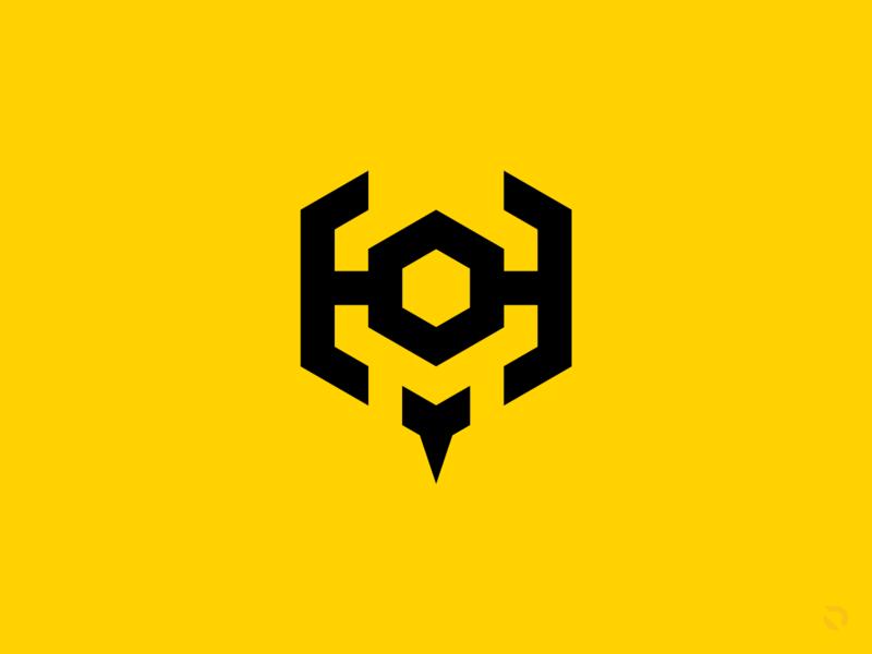 H1VE M1ND eSports Mark thick lines geometric flat design valorant team logo minimalist logo honeycomb m h geometric logo hexagonal hexagon sting stinger hornet wasp bee logo design esports logo esports