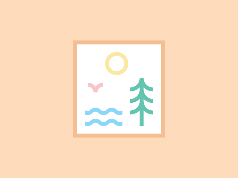 Pastel Nature Lines geometric art geometric minimal modern illustration flat design sun camping camp outdoors wander adventure thick lines monoline line art ocean water waves tree nature