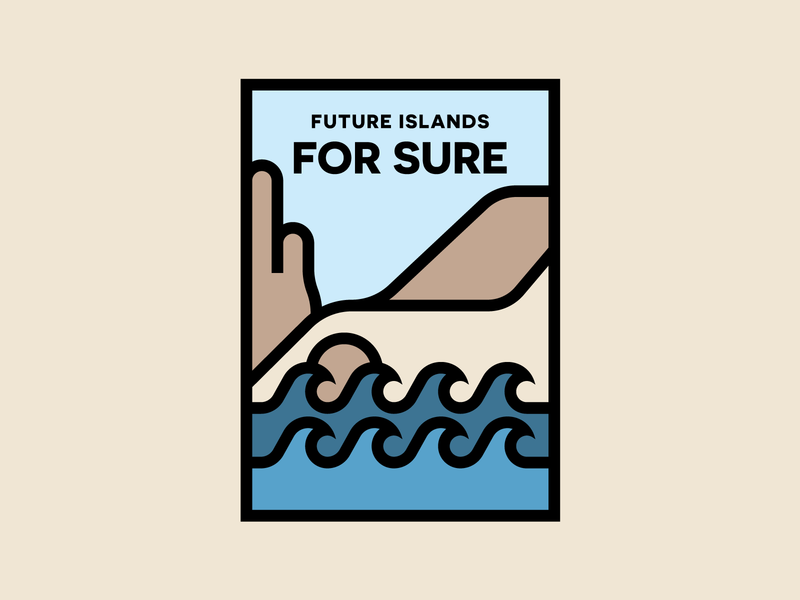 Future Islands - For Sure poster design album art musician gig poster band poster modern minimal flat design monoline illustration for sure future islands cliffs water waves sea ocean nature illustration thick lines illustration monoline