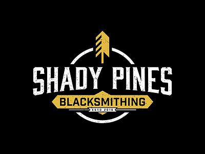 Shady Pines Blacksmithing tree pine metal badge weathered iron blacksmithing blacksmith vintage