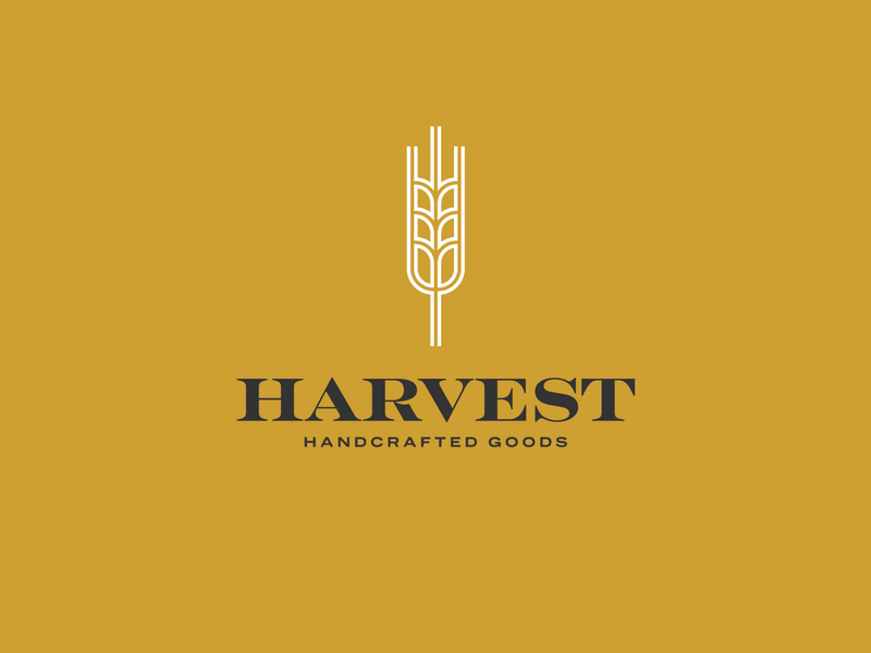Harvest Handcrafted Goods grain wheat wip pumpkin vintage geometric flat design boutique clothing brand branding logo design logo clothing goods handcrafted handmade hipster autumn harvest fall
