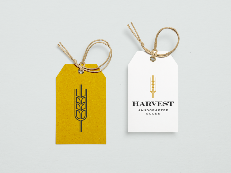 Harvest Hang Tags logomark clothing company barley vintage handmade handcrafted hang tag tag packaging leaves plant wheat boutique fall autumn harvest geometric minimal branding logo design