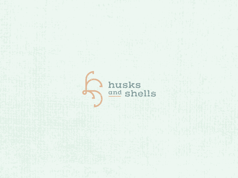 Husks and Shells icon design icon minimal flat design geometric lettermark brand identity vintage weathered branding logo design logomark seashell shell husk ocean sea hs monogram nautical