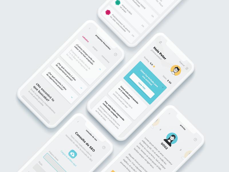 App - Content Creation Platform (freelancer/client) dashboard panel user interface ui design plataform freelancer app content