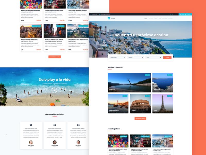 Homepage OV Travel website landing page web ux adobe xd diseño web interfaces design ui travel tours