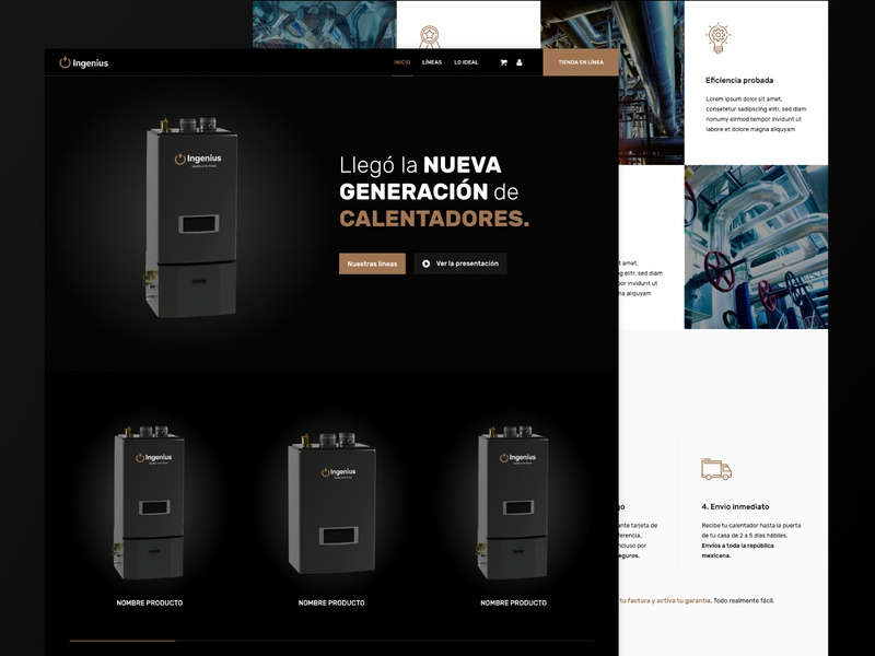 UI Home Ingenius water heaters theme home design industry ui deisgn diseño website adobe xd landing page ux diseño web interfaces design web ui