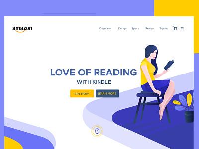 Kindle Landing Page website ux ui kindle women landing illustration yellow blue amazon