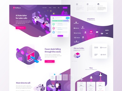 Fireflies Product Landing Page landing page ai note taker chat call purple isometric google product website ui illustration fireflies