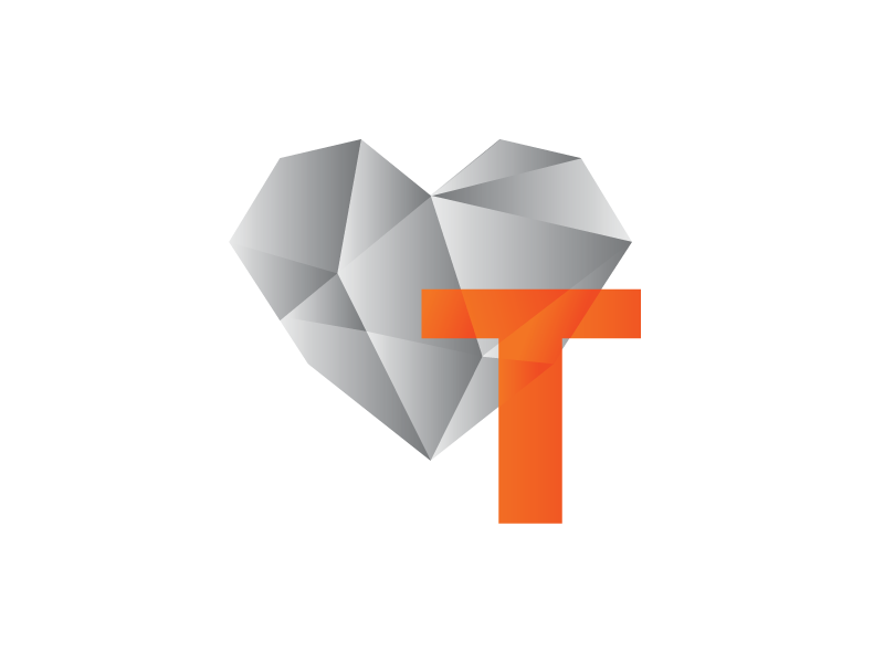 Logo Concept gradients heart facet logo