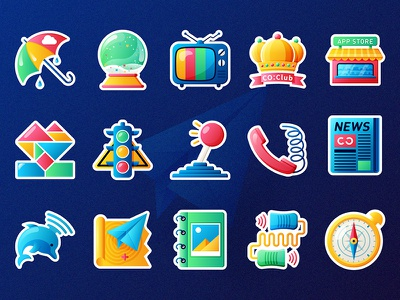 All the Best in Memories paper plane traffic lights compass dolphin crystal ball television phone umbrella decals