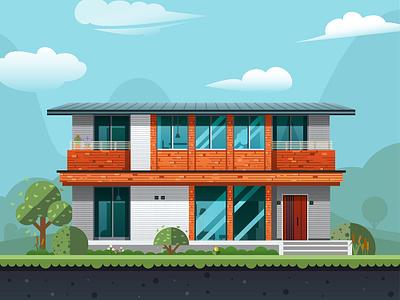 House-NO.3 house flat  illustration plant build architecture