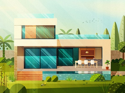 House-NO.11 chairs plant glass family house illustration architecture build