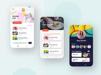 Screen Design for Mobile Communication App social app magazine blog app mobile app design app banner mobile ui mobile app design food recipe colorful topic profile ui article application app
