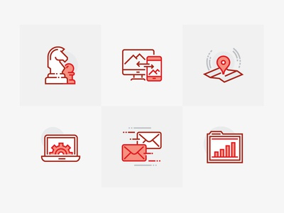 Portfolio Iconography website ui wip digital identity red branding illustrator symbols icons iconography illustrations