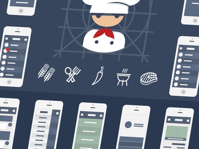 Bitesize Chef Branding WIP app wireframing logo vector illustrations identity iconography icon food chef cartoon branding