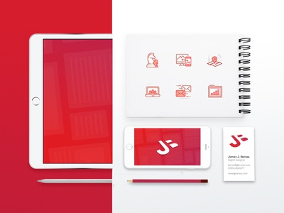James Boross Rebrand icons stationery red bold rebrand monogram logo identity digital clean branding brand