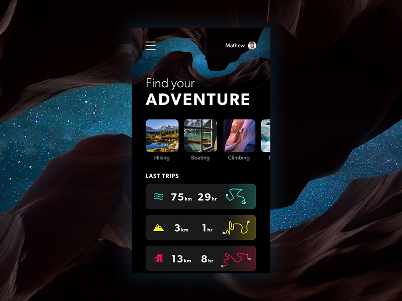 Adobe XD - Find your ADVENTURE adobe xd hiking cards app mobile nature adventure xd adobe