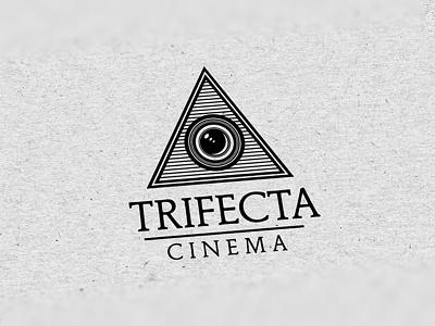 Trifecta Cinema logo logo design film mark icon lens camera triangle