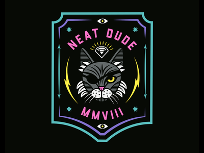 Apparel sticker design for neat dude inspired by my brothers cat bubbles