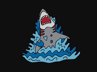 Shark Splash enamel pin doodle shark