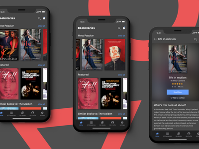 Content Page #02 (Book Application) ux mobile app design animation minimalistic design iphone x book app dark theme ui visual design