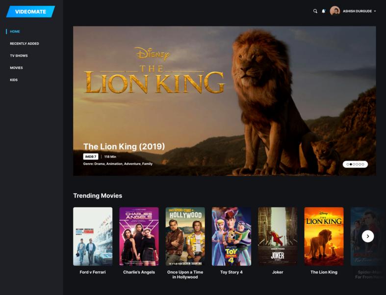 Video Streaming Application Homepage minimalistic design video desktop streaming design ui dark theme visual design