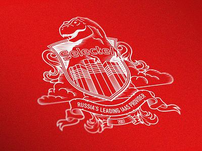 Crest of provider company coat of arms cloud t-rex server illustration crest