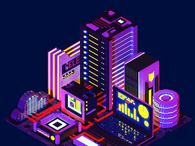 Voxelart night technological city isometric poly low render sci fi magicavoxel 8bit 3d night server city voxelart voxel