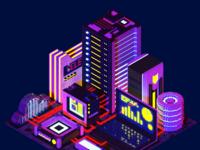 Voxelart night technological city