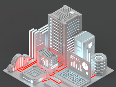 Voxelart clean technological city isometric voxelart voxel server render poly night magicavoxel low city 8bit 3d