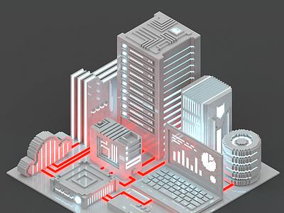 Voxelart clean technological city isometric voxelart voxel server render poly night magicavoxel low city 8bit 3d
