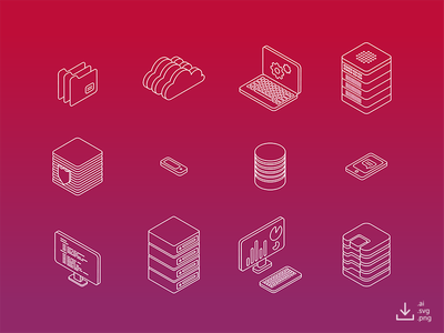 IT Icon Pack — Outline freebie free data gradient line outline networking computer server isometric icon