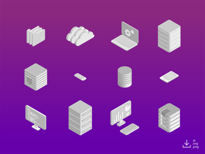 IT Icon Pack — Monochrome freebie free data gradient monochrome networking computer server isometric icon