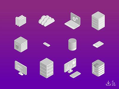 IT Icon Pack — Monochrome freebie free data gradient monochrome networking computer server isometric icon