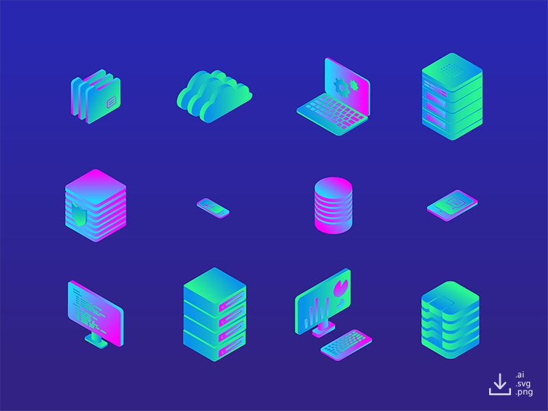 IT Icon Pack — Color freebie free data gradient color networking computer server isometric icon