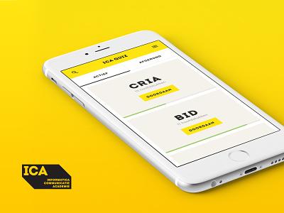 ICA Quiz ux ui interface graphic design flat cards app design graphic design quiz ica quiz