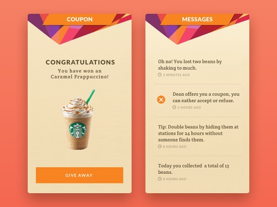 Greenbean (Concept) ui design app design cards interface ui ux game augmented reality starbucks gamification