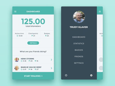Walk 'N Talk Dashboard dashboad flat gamification quantified self game ux ui interface cards app design ui design