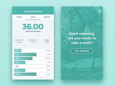 Walk 'N Talk Statistics statistics ui design app design cards interface ui ux game quantified self gamification flat