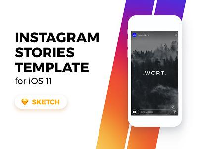 Insta Stories Dribbble instagram ui sketch freebie free template