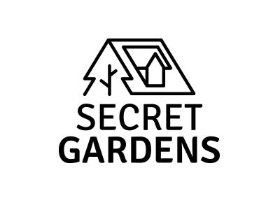 04 Secret Gardens three house nature icon logo graphic freehand estate design branding