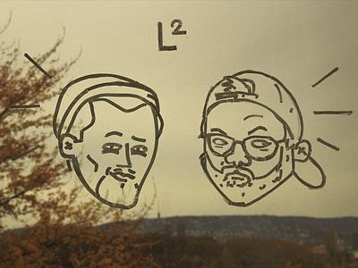 L2 studio friend character illustration face chalk draw l2