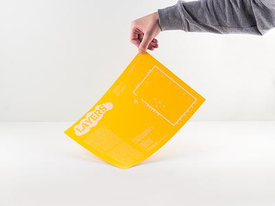 Layers handsout gray white design font stencil brossur yellow